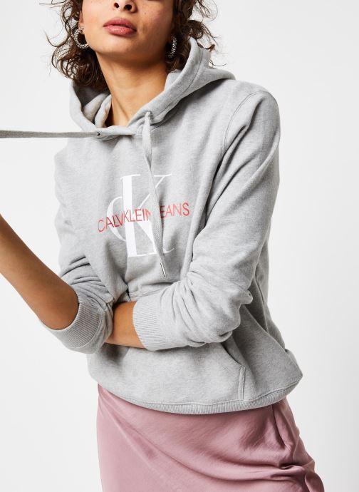 Vêtements Calvin Klein Jeans Monogram Relaxed Short Hoodie Gris vue détail/paire
