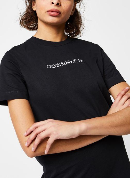 Vêtements Calvin Klein Jeans Institutional T-Shirt Dress Noir vue face