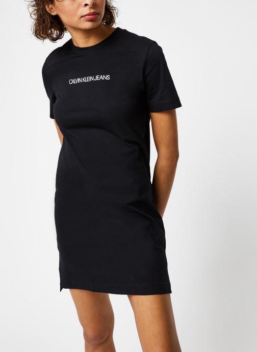 Vêtements Calvin Klein Jeans Institutional T-Shirt Dress Noir vue droite