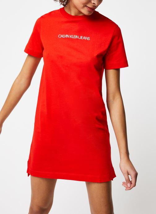 Vêtements Calvin Klein Jeans Institutional T-Shirt Dress Rouge vue droite