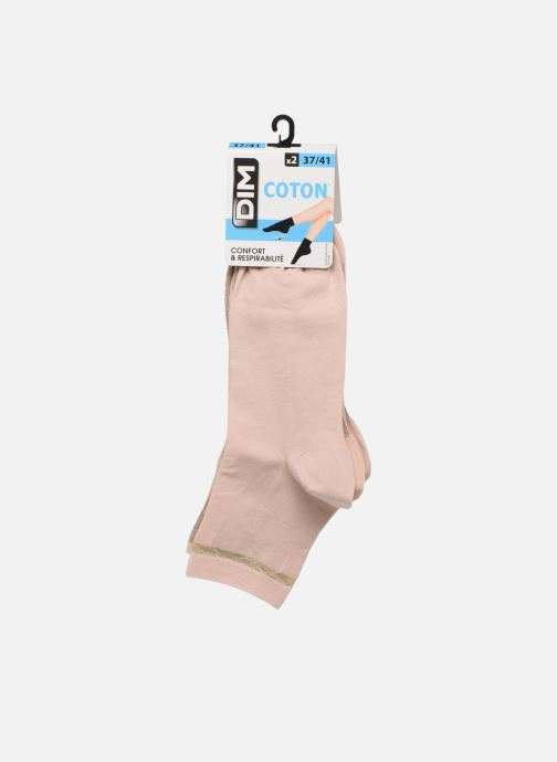 Socks & tights Dim Socquette Coton Style Bord Côte Brillant X2 Pink model view