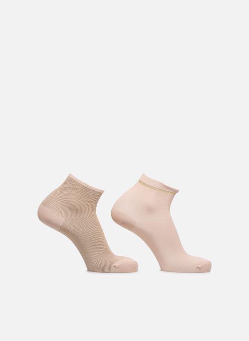 Chaussettes et collants Dim Socquette Coton Style Bord Côte Brillant X2 Rose vue détail/paire