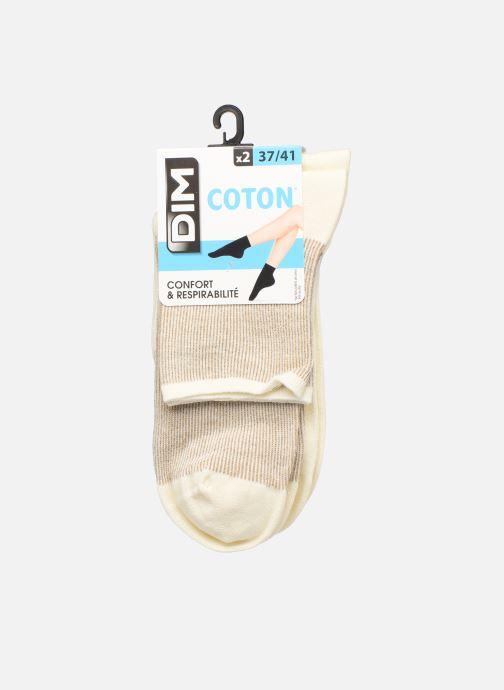 Sokken en panty's Dim Socquette Coton Style Bord Côte Brillant X2 Beige model