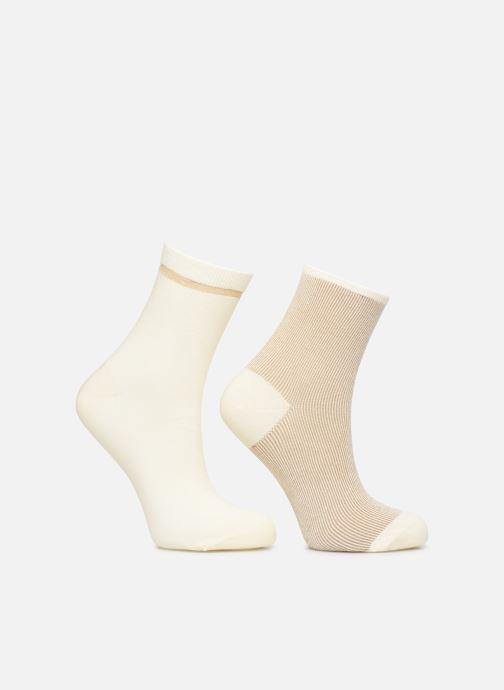 Sokken en panty's Dim Socquette Coton Style Bord Côte Brillant X2 Beige detail