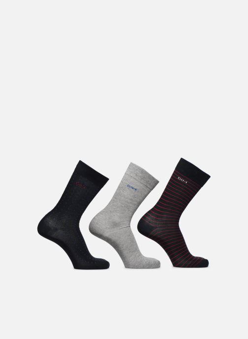 Sokken en panty's Dim Mi-Chaussette Coton Rayures et Pois X3 Grijs detail