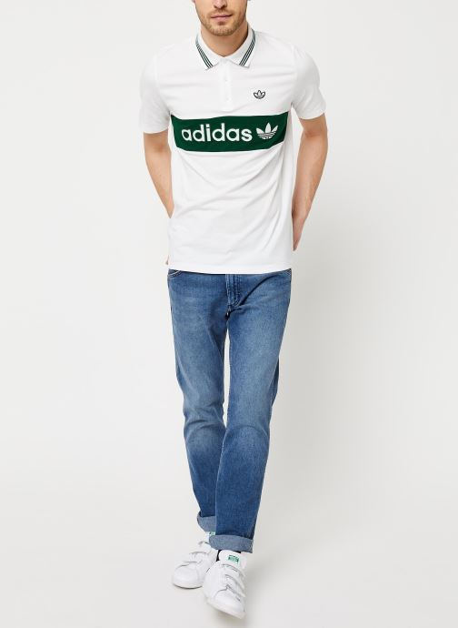 adidas originals Polo - Stripped Polo Shirt (Blanc) - Vêtements (436444)