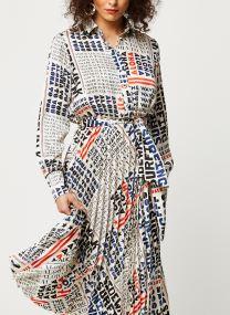 Pleated midi length dress with belt