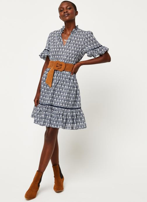 Kleding Scotch & Soda Printed dress with ladder lace Blauw onder