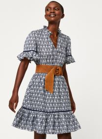 Printed dress with ladder lace