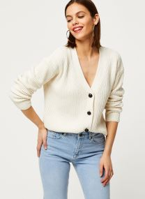 V-neck chunky rib knit cardigan