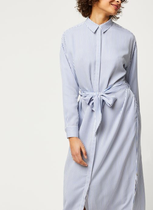 Vêtements Scotch & Soda Striped shirt dress with belt in lyocell quality Bleu vue droite