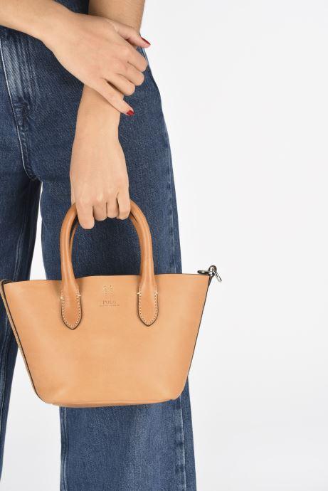 Handtaschen Polo Ralph Lauren BELLPORT MINI OPEN TOTE braun ansicht von unten / tasche getragen