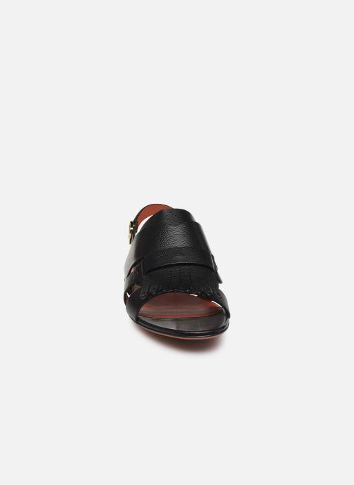 Sandales et nu-pieds Santoni BRIGITTE FLAT 58524 Noir vue portées chaussures