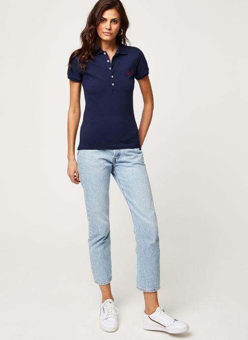 Vêtements Polo Ralph Lauren Julie Polo-Skinny-Short Sleeve-Knit Bleu vue bas / vue portée sac