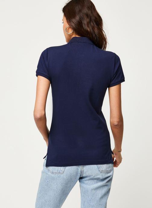 Vêtements Polo Ralph Lauren Julie Polo-Skinny-Short Sleeve-Knit Bleu vue portées chaussures