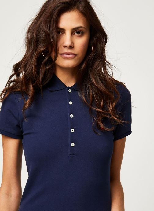 Vêtements Polo Ralph Lauren Julie Polo-Skinny-Short Sleeve-Knit Bleu vue face