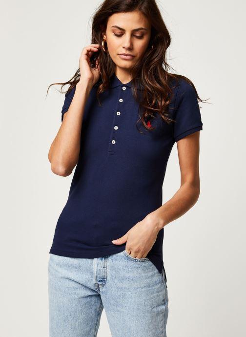 Vêtements Polo Ralph Lauren Julie Polo-Skinny-Short Sleeve-Knit Bleu vue droite