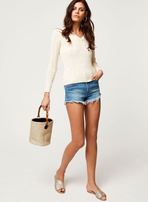 Vêtements Polo Ralph Lauren Kimberly-Classic-Long Sleeve-Sweater Blanc vue bas / vue portée sac