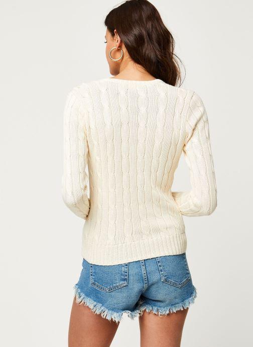 Vêtements Polo Ralph Lauren Kimberly-Classic-Long Sleeve-Sweater Blanc vue portées chaussures