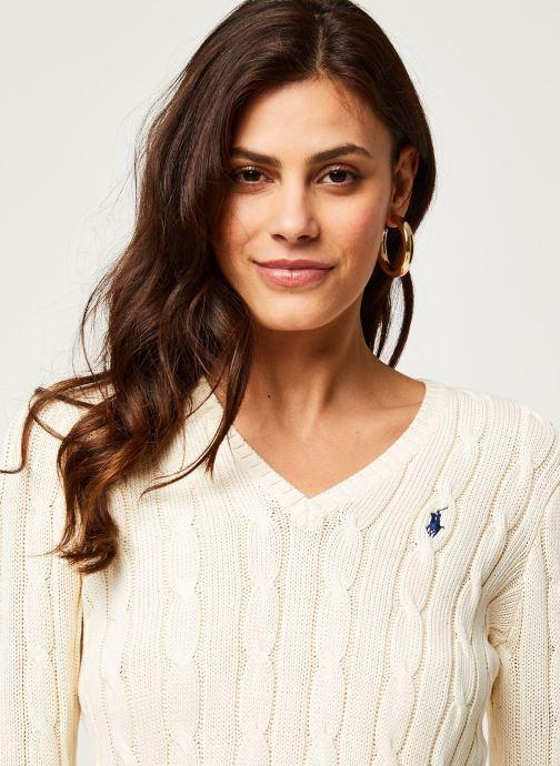Vêtements Polo Ralph Lauren Kimberly-Classic-Long Sleeve-Sweater Blanc vue face