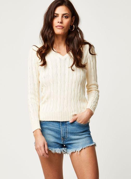 Vêtements Polo Ralph Lauren Kimberly-Classic-Long Sleeve-Sweater Blanc vue droite