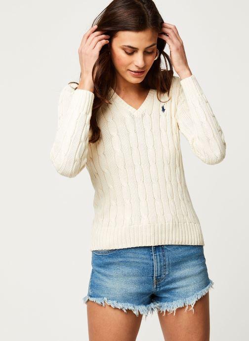Vêtements Polo Ralph Lauren Kimberly-Classic-Long Sleeve-Sweater Blanc vue détail/paire
