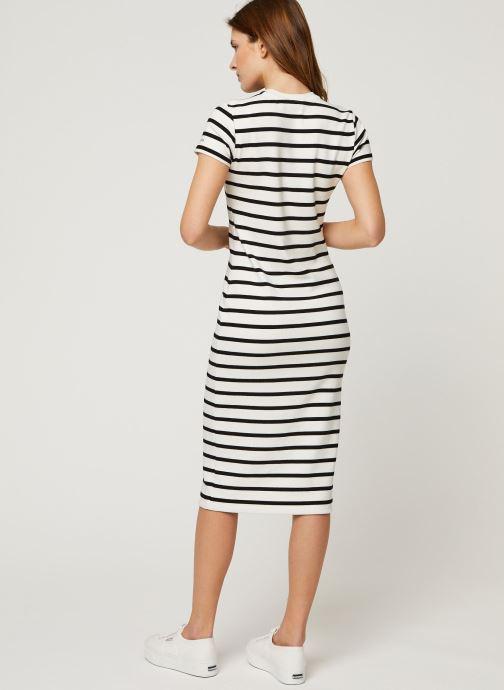 Vêtements Polo Ralph Lauren Ss Stripe Dr-Short Sleeve-Casual Dress Noir vue portées chaussures