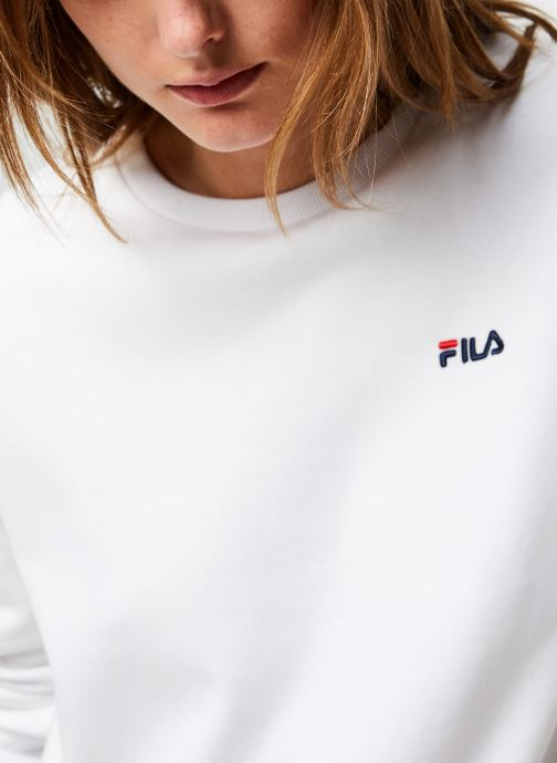 Vêtements FILA Effie Crew Sweat Blanc vue face