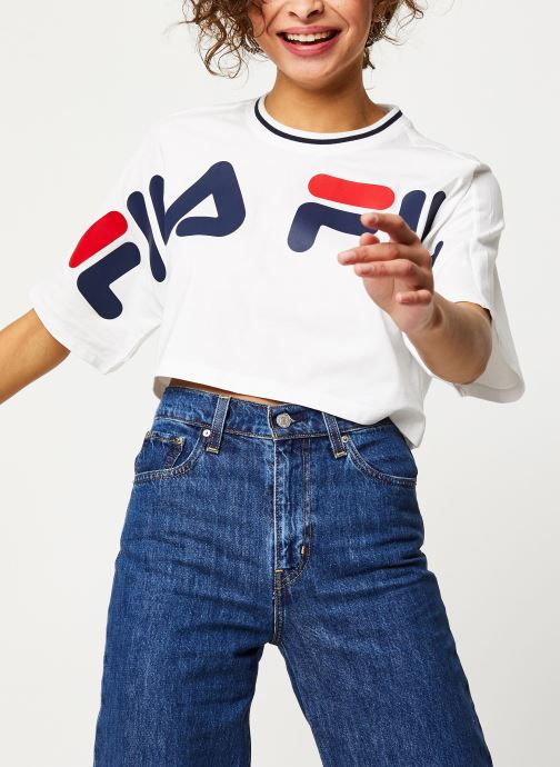 Vêtements FILA Barr Cropped Wide Tee Blanc vue droite