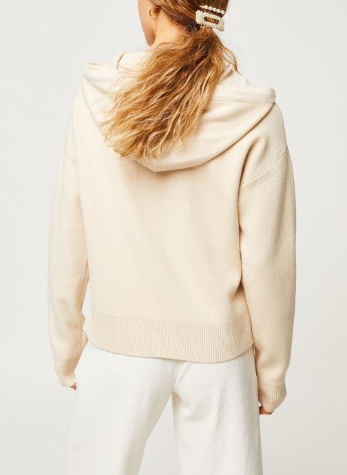 Vêtements Vero Moda Vmloungenew Hood Blouse Blanc vue portées chaussures