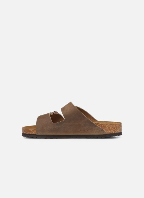 Sandales et nu-pieds Birkenstock Arizona Cuir Soft Footbed M Marron vue face