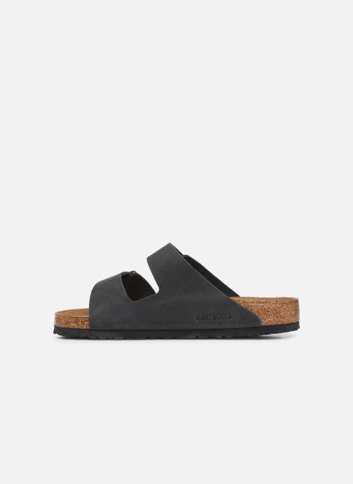 Sandales et nu-pieds Birkenstock Arizona Cuir Soft Footbed M Noir vue face