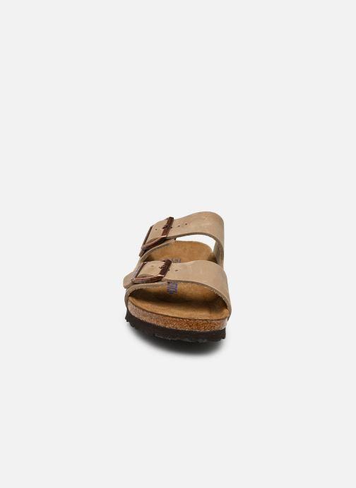 Mules et sabots Birkenstock Arizona Sfb Cuir W Marron vue portées chaussures