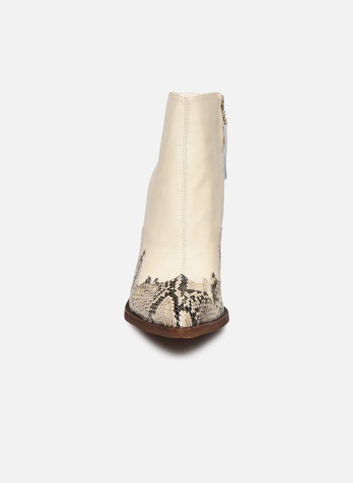 Bottines et boots Sam Edelman ILAH CALF/SNAKE PRINT LTH Blanc vue portées chaussures