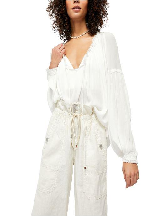 Vêtements Free People BANDA BLOUSE Blanc vue face