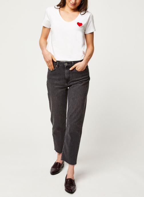 Vêtements Pieces T-Shirt PCNEW BILLY rouge Blanc vue bas / vue portée sac