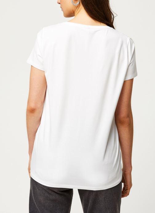 Vêtements Pieces T-Shirt PCNEW BILLY rouge Blanc vue portées chaussures