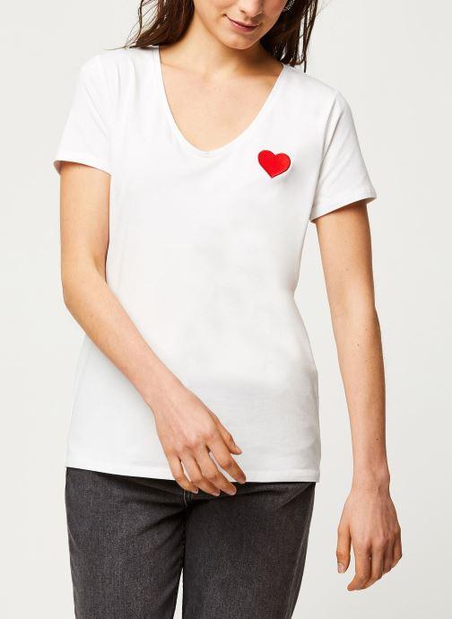 Vêtements Pieces T-Shirt PCNEW BILLY rouge Blanc vue droite