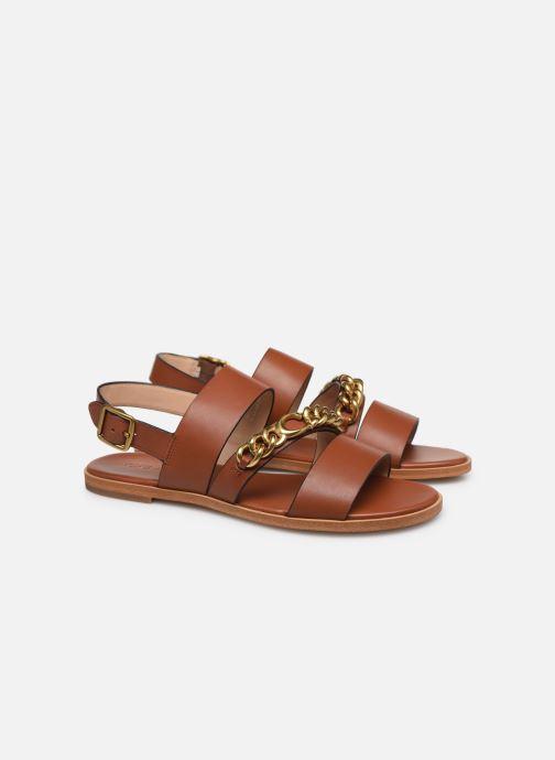 Sandales et nu-pieds Coach Heather C Chain Sandal- Leather Marron vue 3/4