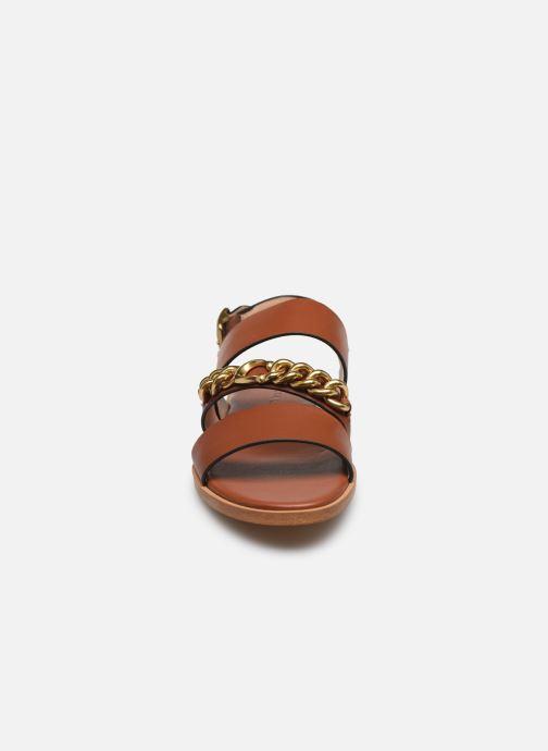 Sandales et nu-pieds Coach Heather C Chain Sandal- Leather Marron vue portées chaussures