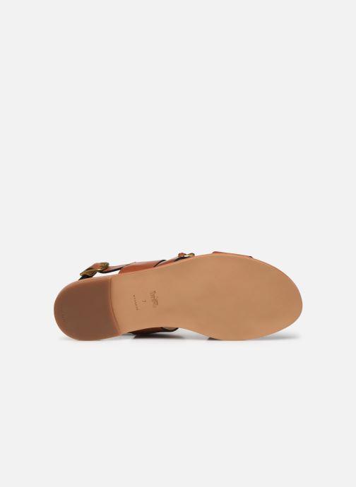 Sandales et nu-pieds Coach Heather C Chain Sandal- Leather Marron vue haut