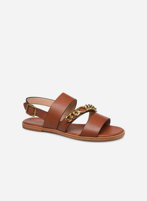 Sandales et nu-pieds Coach Heather C Chain Sandal- Leather Marron vue détail/paire