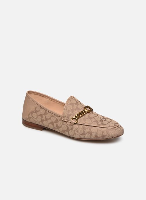 Mocasines Coach Helena C Chain Loafer- Signature Jacquard Beige vista de detalle / par