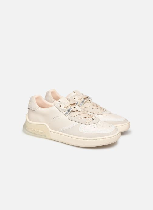 Baskets Coach Adb Suede-Leather Court Sneaker Blanc vue 3/4