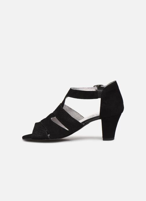 Sandali e scarpe aperte Pédiconfort Lucie - Sandales cuir bimatière grande largeur Nero immagine frontale