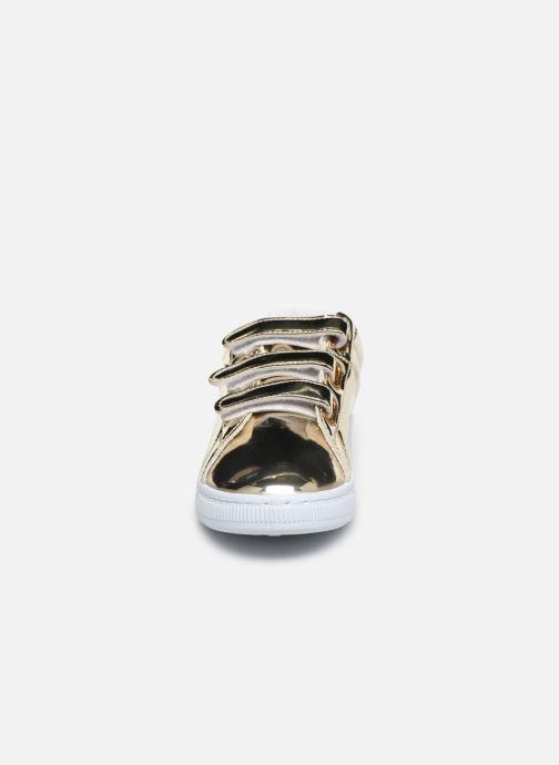 Sneakers Initiale Paris Tehani Oro e bronzo modello indossato