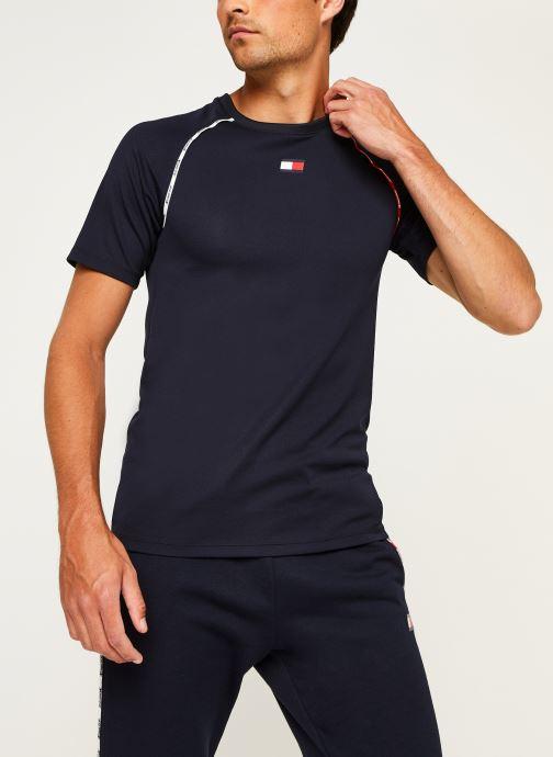 Vêtements Tommy Sport Piping Training Top Bleu vue droite