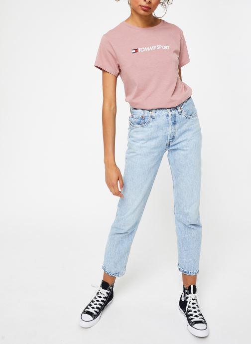 Vêtements Tommy Sport Cotton Mix Chest Logo Top Rose vue bas / vue portée sac