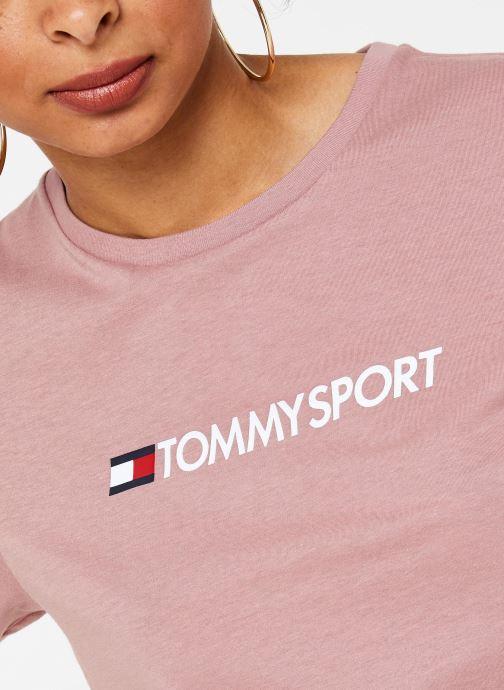 Vêtements Tommy Sport Cotton Mix Chest Logo Top Rose vue face