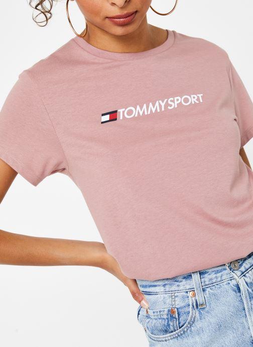 Vêtements Tommy Sport Cotton Mix Chest Logo Top Rose vue détail/paire